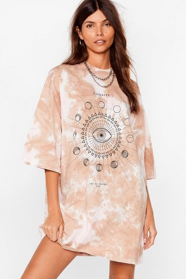 Brown The All Seeing Eye Tie Dye Tee Dress