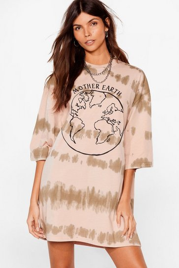 Brown Down to Mother Earth Graphic Tie Dye Dress