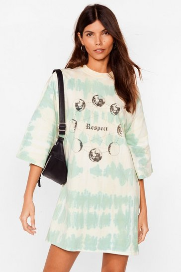 Green A Lil Respect Tie Dye Tee Dress