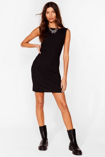 Black Got Your Back Ribbed Mini Dress