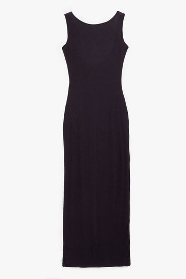 Black Don't Look Scoop Back Ribbed Maxi Dress
