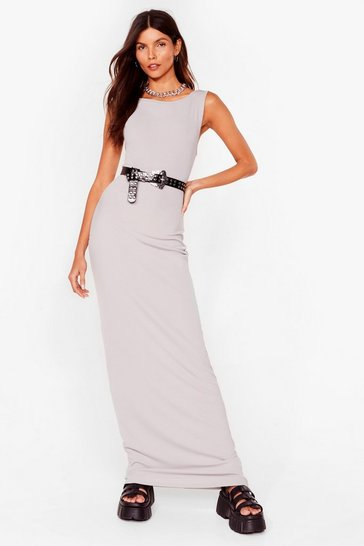 Grey Don't Look Scoop Back Ribbed Maxi Dress