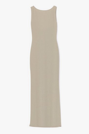 Sage Don't Look Scoop Back Ribbed Maxi Dress