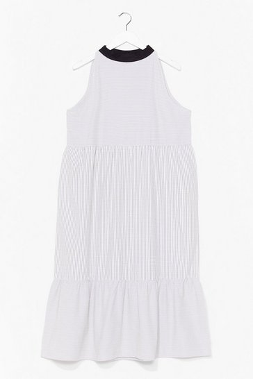 Cream A Smock to Give Tiered Midi Dress