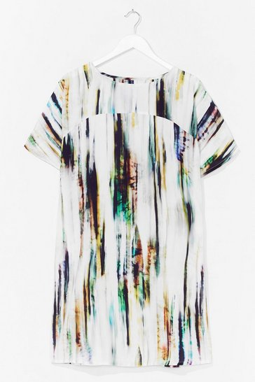 Cream Tie Dye Woven T-Shirt Dress