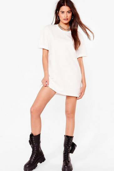 Off white Casual Loose Mini T-Shirt Dress