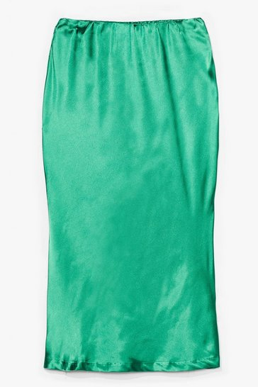 Apple green Slipped My Mind Satin Midi Skirt