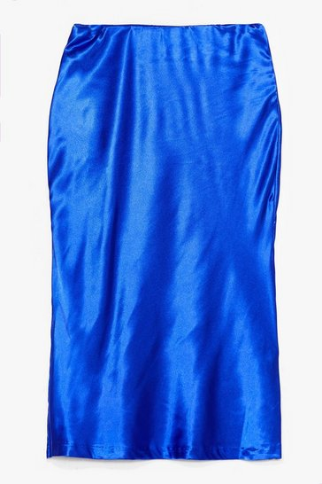 Cobalt Slipped My Mind Satin Midi Skirt