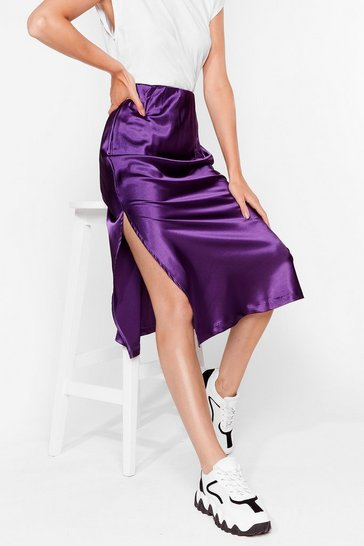 Purple Slipped My Mind Satin Midi Skirt