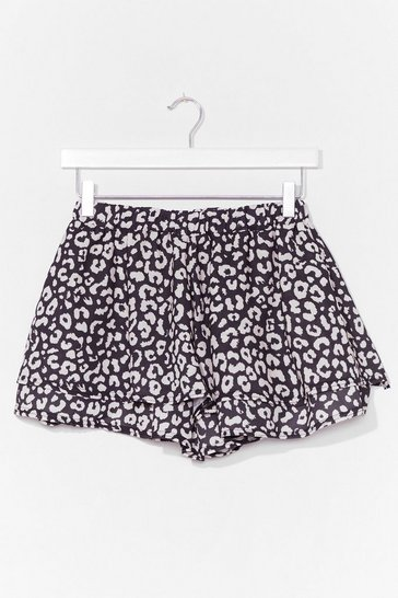 Black Golden Days Leopard Ruffle Shorts