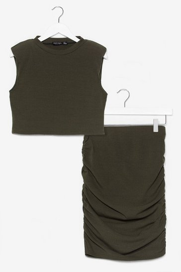 Khaki In a Ruche Crop Top and Midi Skirt Set