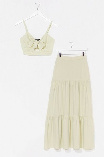 Sage You're No Match For Us Crop Top and Maxi Skirt Set