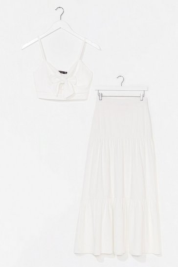 White You're No Match For Us Crop Top and Maxi Skirt Set