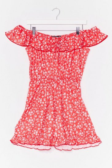 Red Floral Off The Shoulder Ruffle Romper