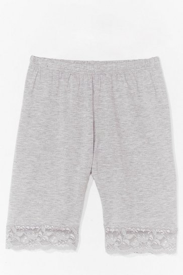 Grey marl LACE TRIM CYCLING SHORT