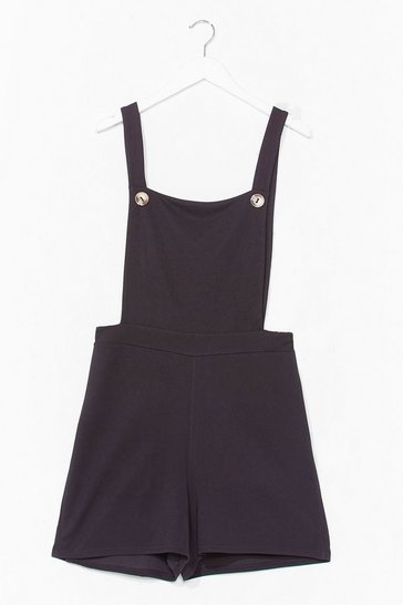 Black Put in the Work Overalls Romper