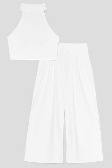 Ivory I Found You High Neck Crop Top and Culotte Set
