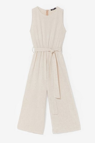 Stone Into Linen Belted Culotte Jumpsuit