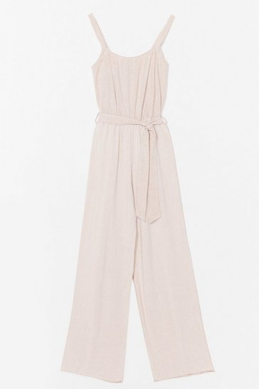 Stone Linen to Your Heart Belted Wide-Leg Jumpsuit