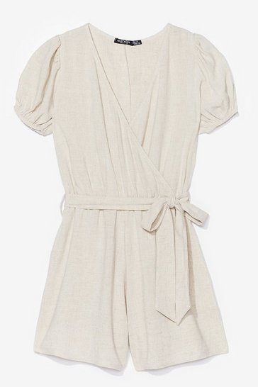 Stone Into Linen Puff Sleeve Belted Romper
