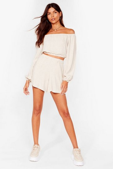 Stone Linen in the Stars High-Waisted Shorts