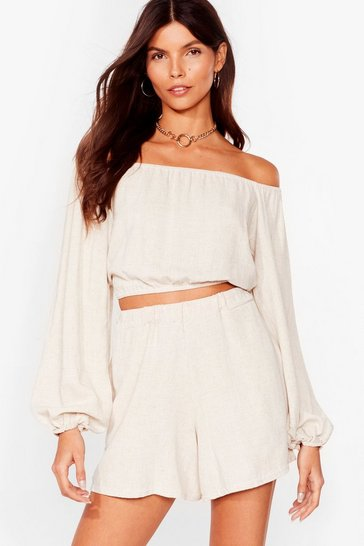 Stone Linen in the Stars Off-the-Shoulder Crop Top