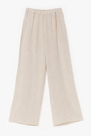 Stone Linen to the Rhythm High-Waisted Wide-Leg Pants