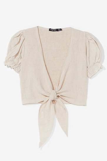 Stone Waiting in Linen Puff Sleeve Crop Top