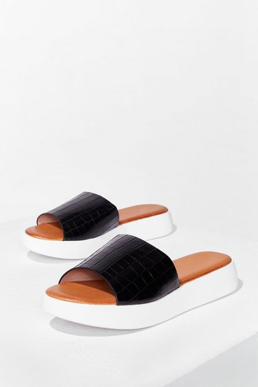 Black Croc's It Gonna Be Faux Leather Sliders