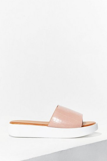 Pink Croc's It Gonna Be Faux Leather Sliders