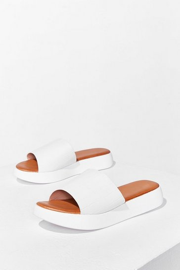 White Croc's It Gonna Be Faux Leather Sliders
