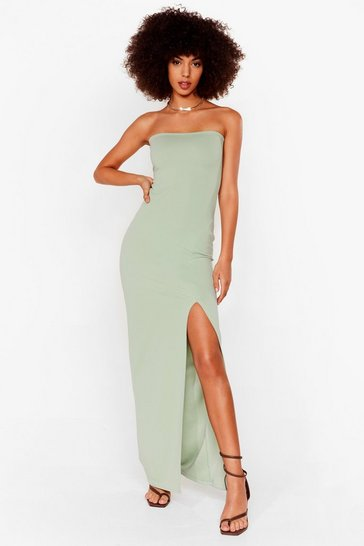 Sage Slits Official Bandeau Midi Dress