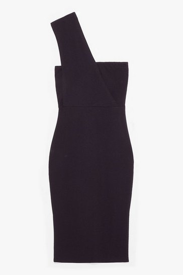 Black SINGLE STRAP BODYCON MIDI DRESS