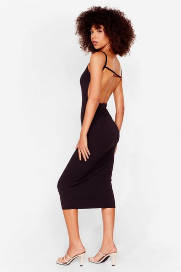 Black Opening Night Strappy Midi Dress