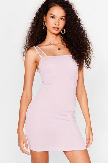 Lilac Right Strap At You Ribbed Mini Dress
