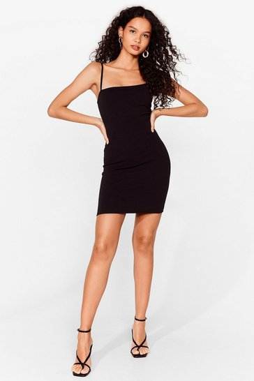 Black Get Even Asymmetric Mini Dress