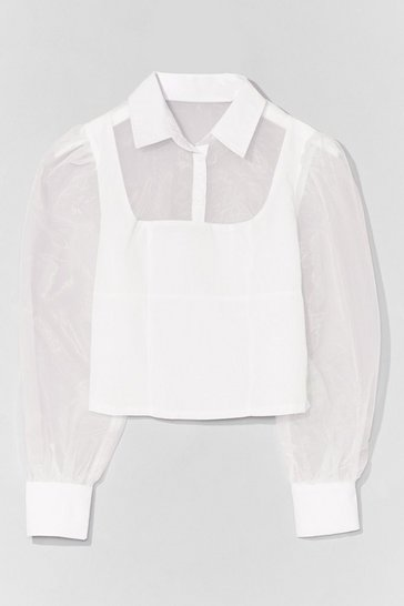 White Sheer Madness Organza Button-Down Shirt