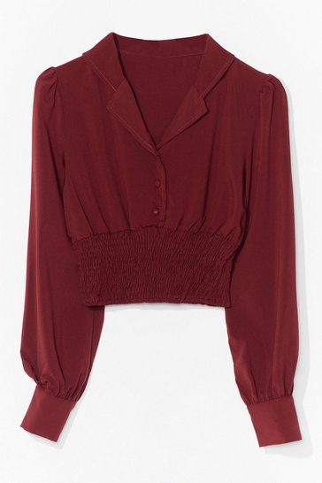 Red Shirring Detail Blouse
