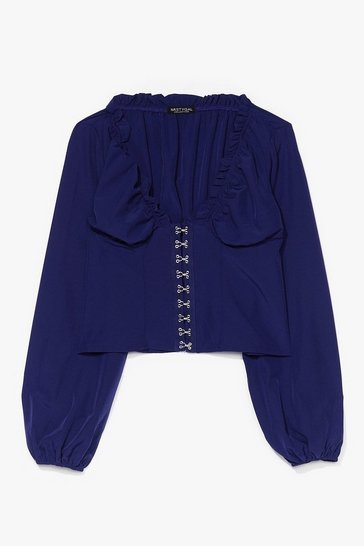 Blue Hook & Eye Detail Blouse