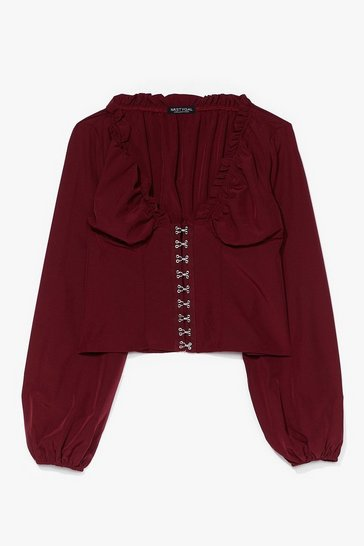 Red Hook & Eye Detail Blouse