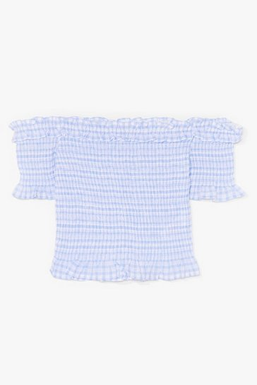 Blue Love On the Weekend Gingham Crop Top