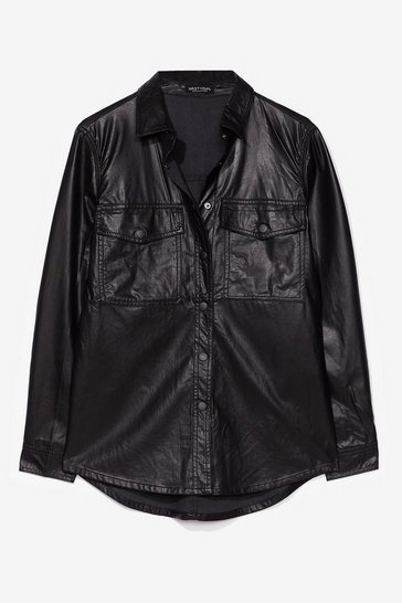 Black However You Want It Faux Leather Shirt Jacket