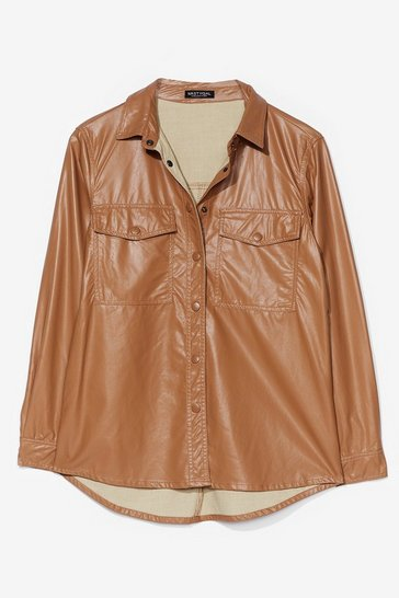 Brown However You Want It Faux Leather Shirt Jacket