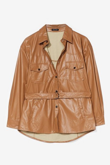 Brown We Faux Leather Forget Belted Shirt Jacket