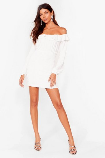 White Better Off-the-Shoulder Mini Dress