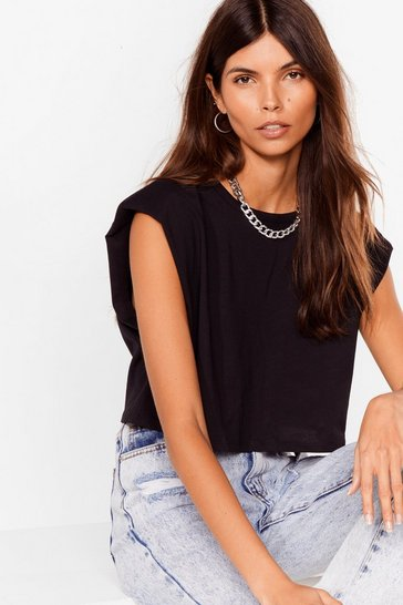 Black We're Pad You Came Crop Tee