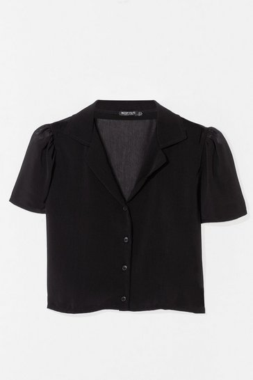 Black Let Me V Puff Sleeve Cropped Blouse