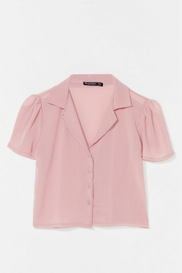 Rose Let Me V Puff Sleeve Cropped Blouse