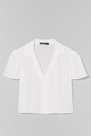 White Let Me V Puff Sleeve Cropped Blouse