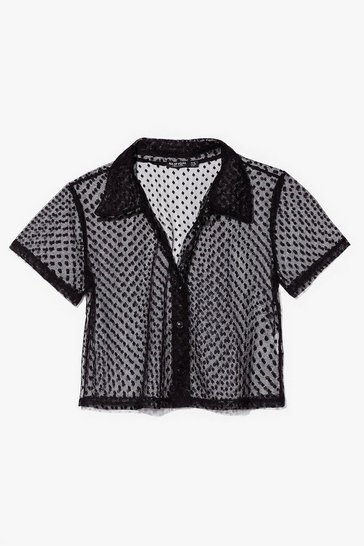 Black Mesh Get to It Cropped Spotty Shirt